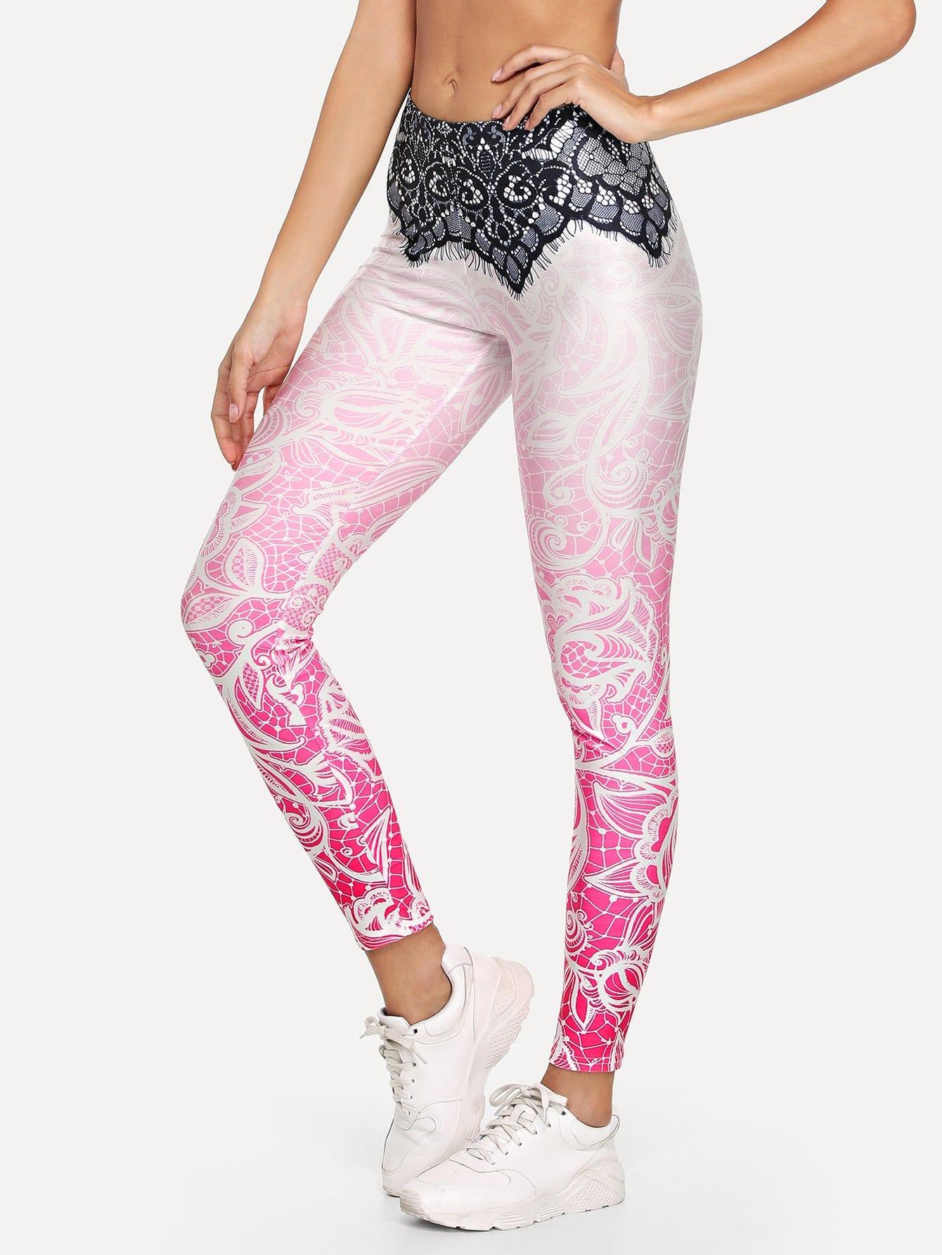 Contrast Eyelash Lace Mandala Print Leggings mandala print leggings