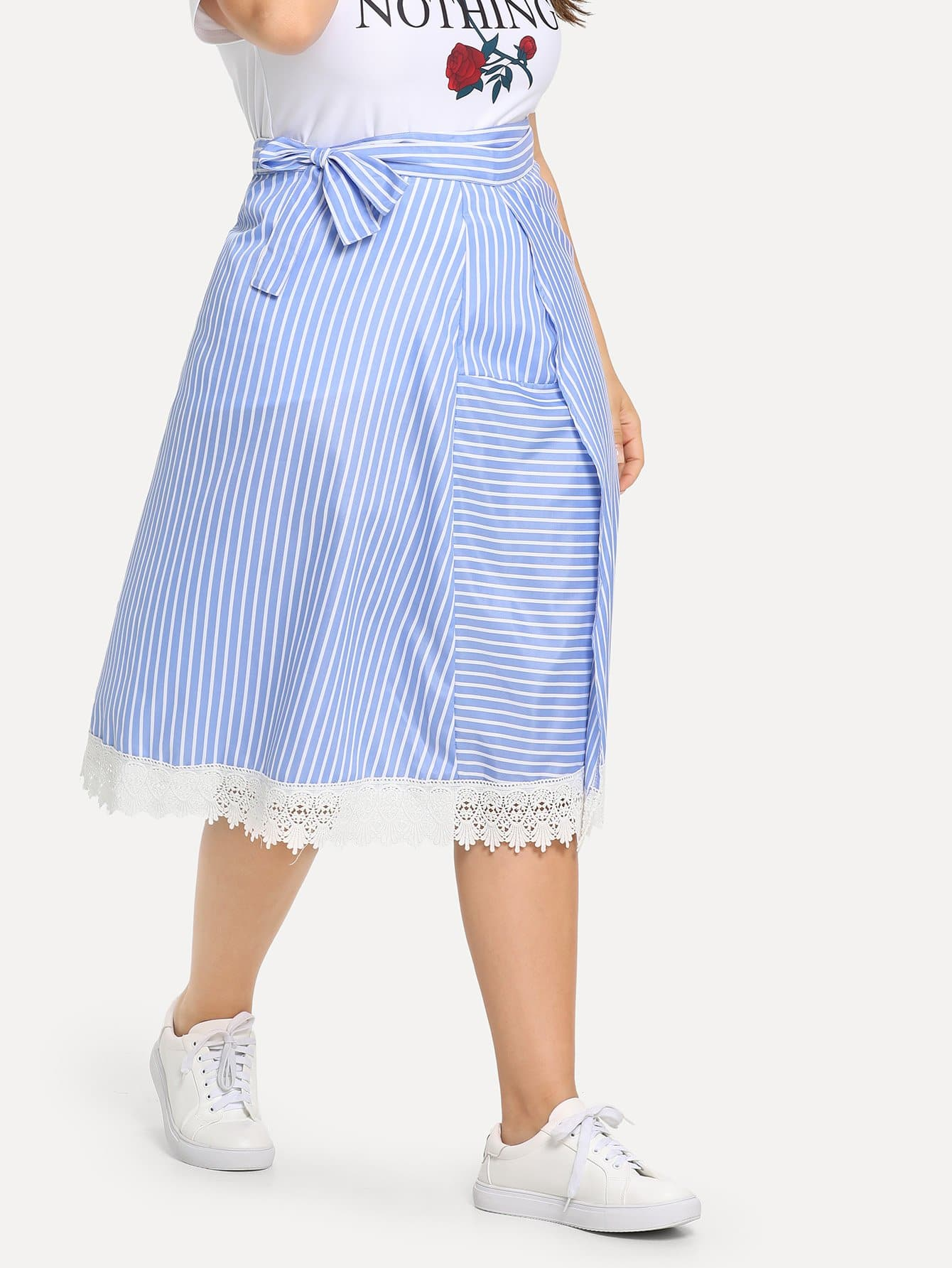 Plus Contrast Lace Striped Overlap Skirt