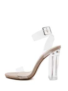 Ankle Cuff Clear Detail Heeled Sandals
