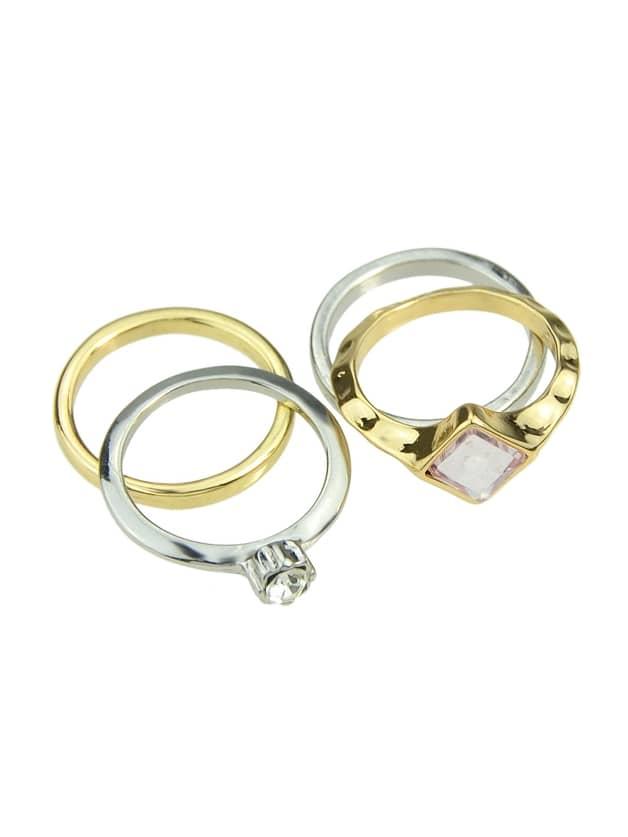 Trendy Gold Silver Geometric Finger Ring
