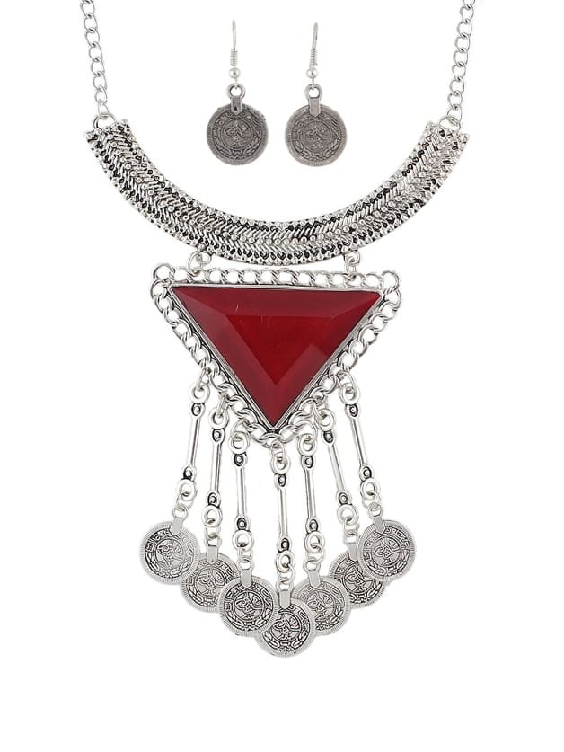 Red Ethnic Jewelry Sets Antique Silver Necklace Earrings