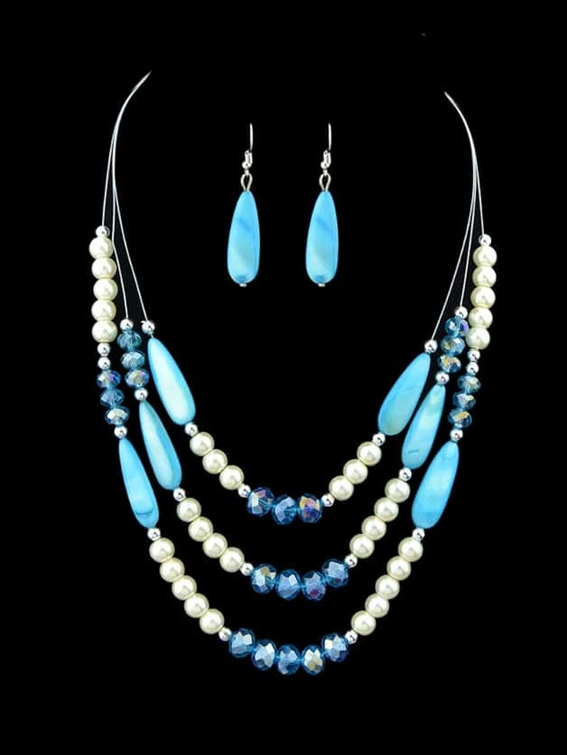 Lightblue Colorful Acrylic Beads Chain Necklace Earrings