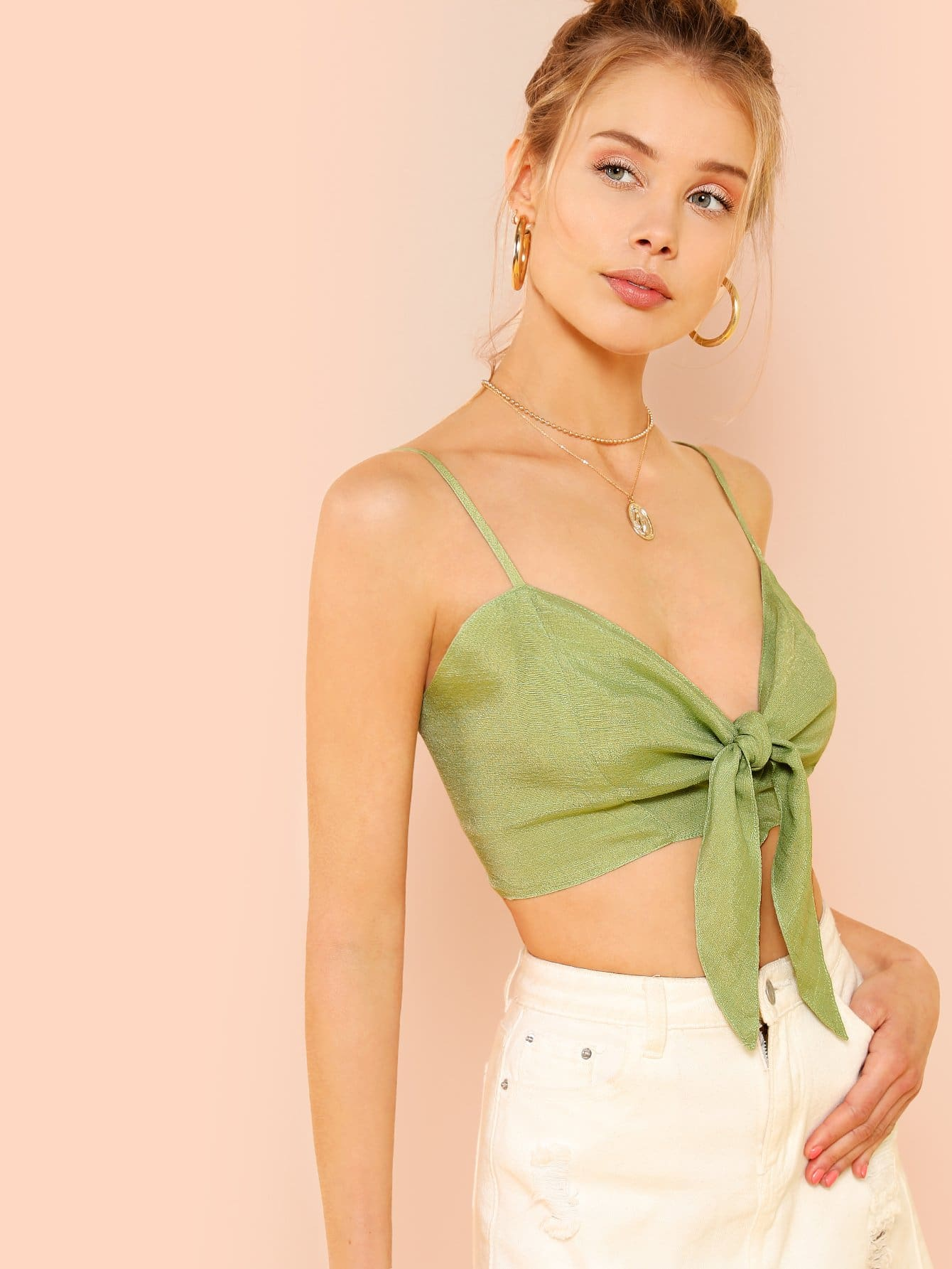 Купить Женская короткая рубашка с бантом перед одеждой, Allie Leggett, SheIn