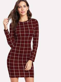 Slim Fit Grid Dress