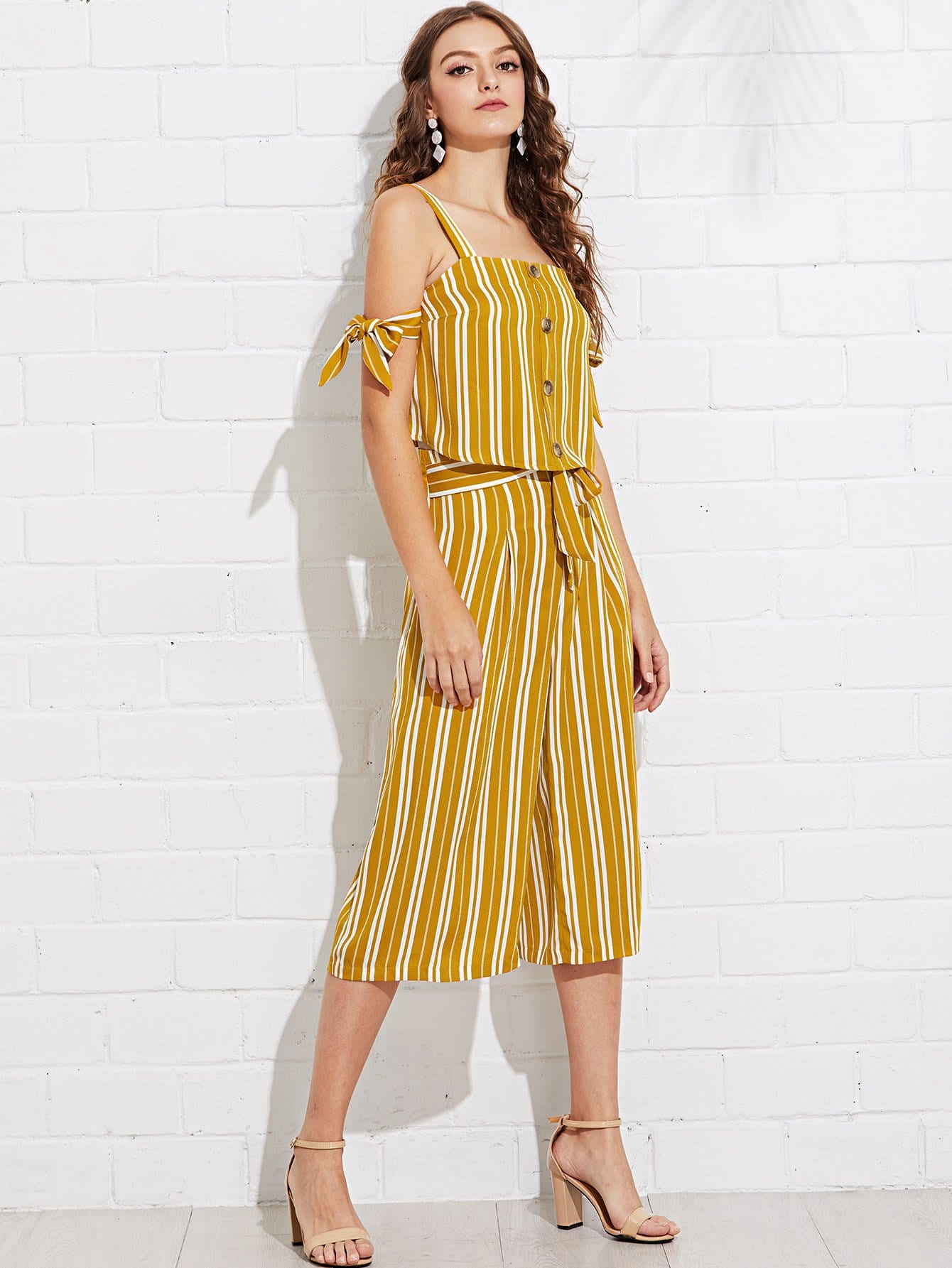 Button Up Knot Detail Striped Top and Palazzo Pants Set knot detail striped bodysuit