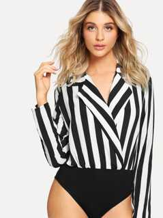 Notch Collar Striped Wrap Bodysuit
