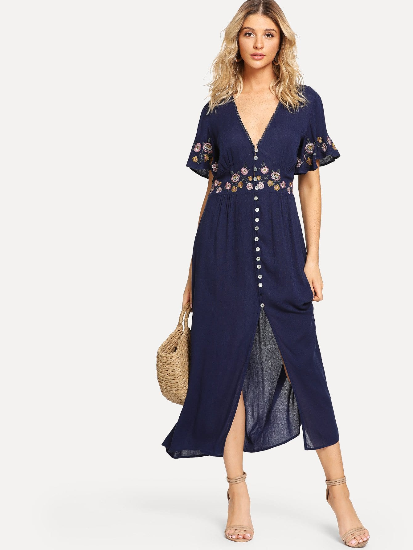 Купить Платье с вышивкой из флаттера, Nathane, SheIn