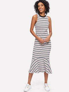Ruffle Hem Striped Rib Knit Dress