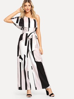 One Shoulder Foldover Front Self Belted Palazzo Jumpsuit