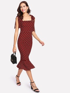Tie Shoulder Polka Dot Pep Hem Dress