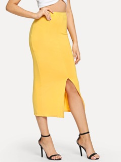 Split Hem Slim Fitted Skirt