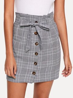 Button Up Knot Front Plaid Skirt