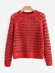 Open-Knit Raglan Sleeve Sweater