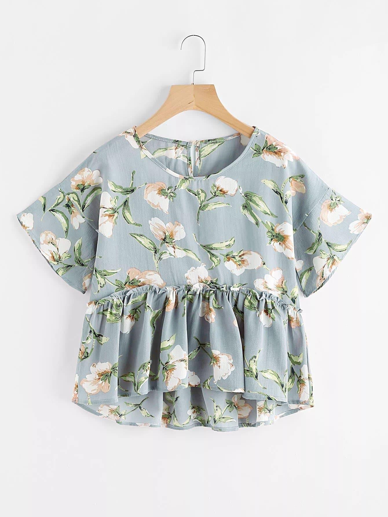 Купить Модная блуза с оборкой и цветочным принтом, null, SheIn
