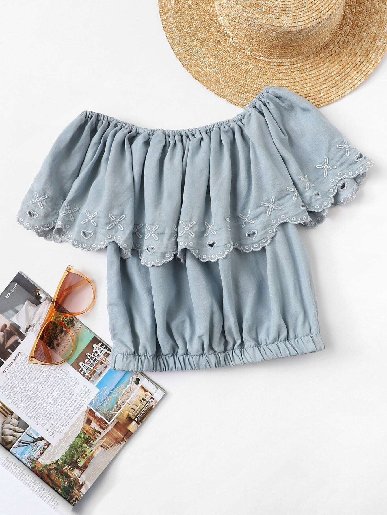 Off-Shoulder Flower Embroidered Crop Denim Top blue off the shoulder lace up front denim crop top