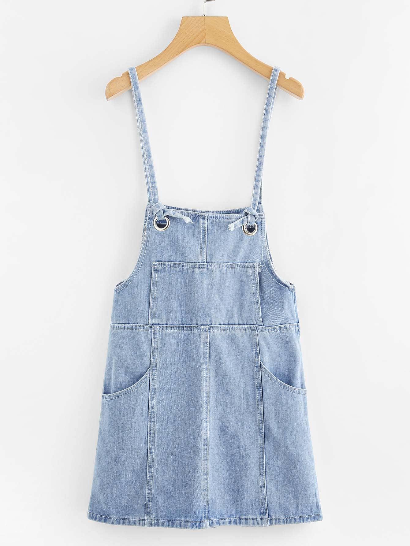Bleach Wash Button Front Strap Denim Dress button front strap dress
