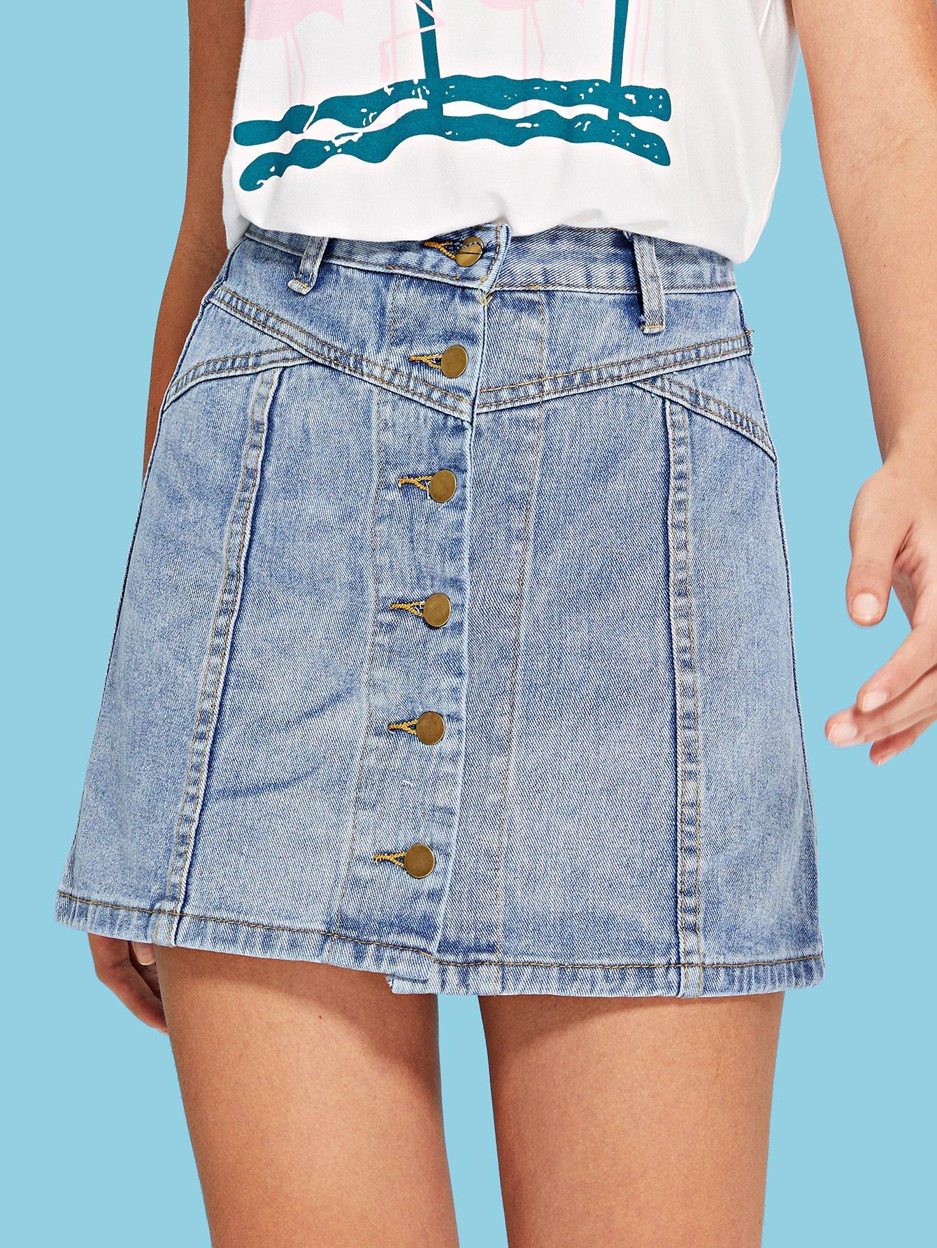 Купить Женская джинсовая юбка, Luiza, SheIn