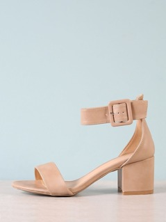 Ankle Buckle Strap Block Heel