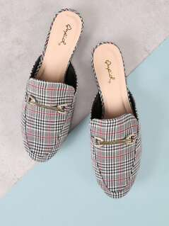 Plaid Loafer Slides