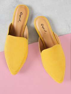 Faux Suede Pointed Toe Slides