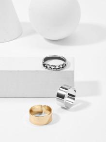 Hollow Detail Ring Set 3pcs
