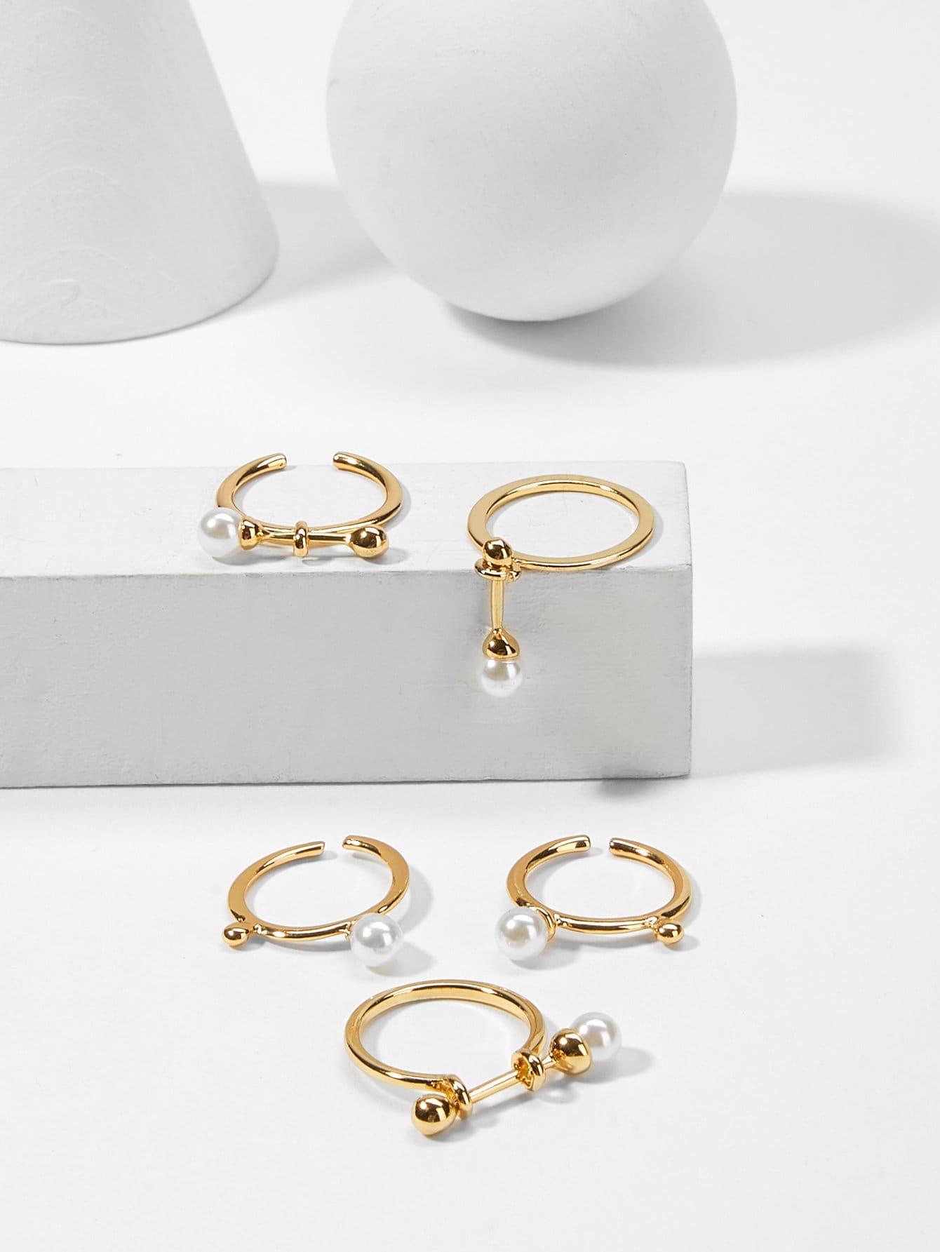 Faux Pearl & Bar Ring Set 5pcs faux pearl asymmetrical ring