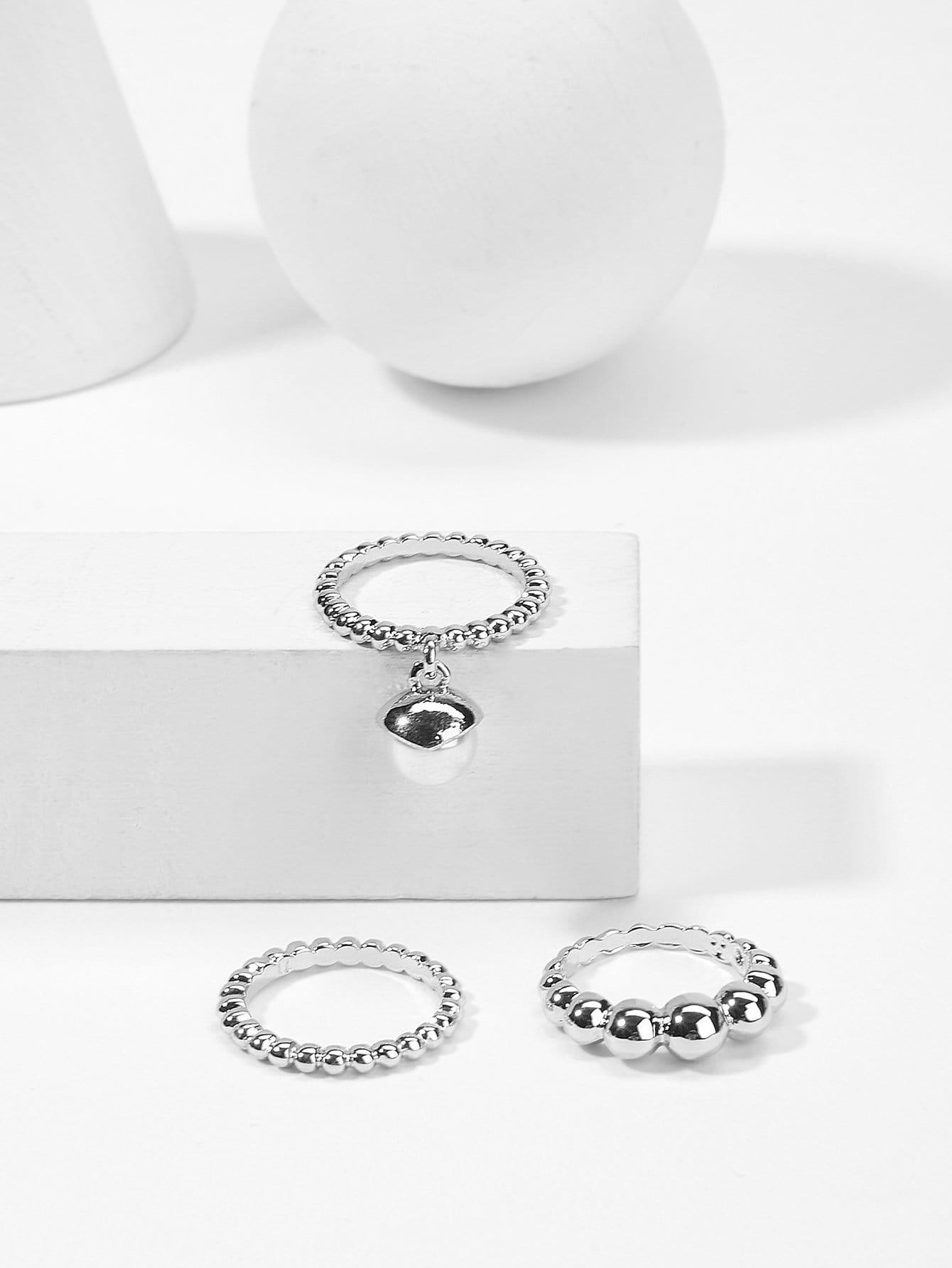 Faux Pearl Detail Ring Set 3pcs faux pearl asymmetrical ring