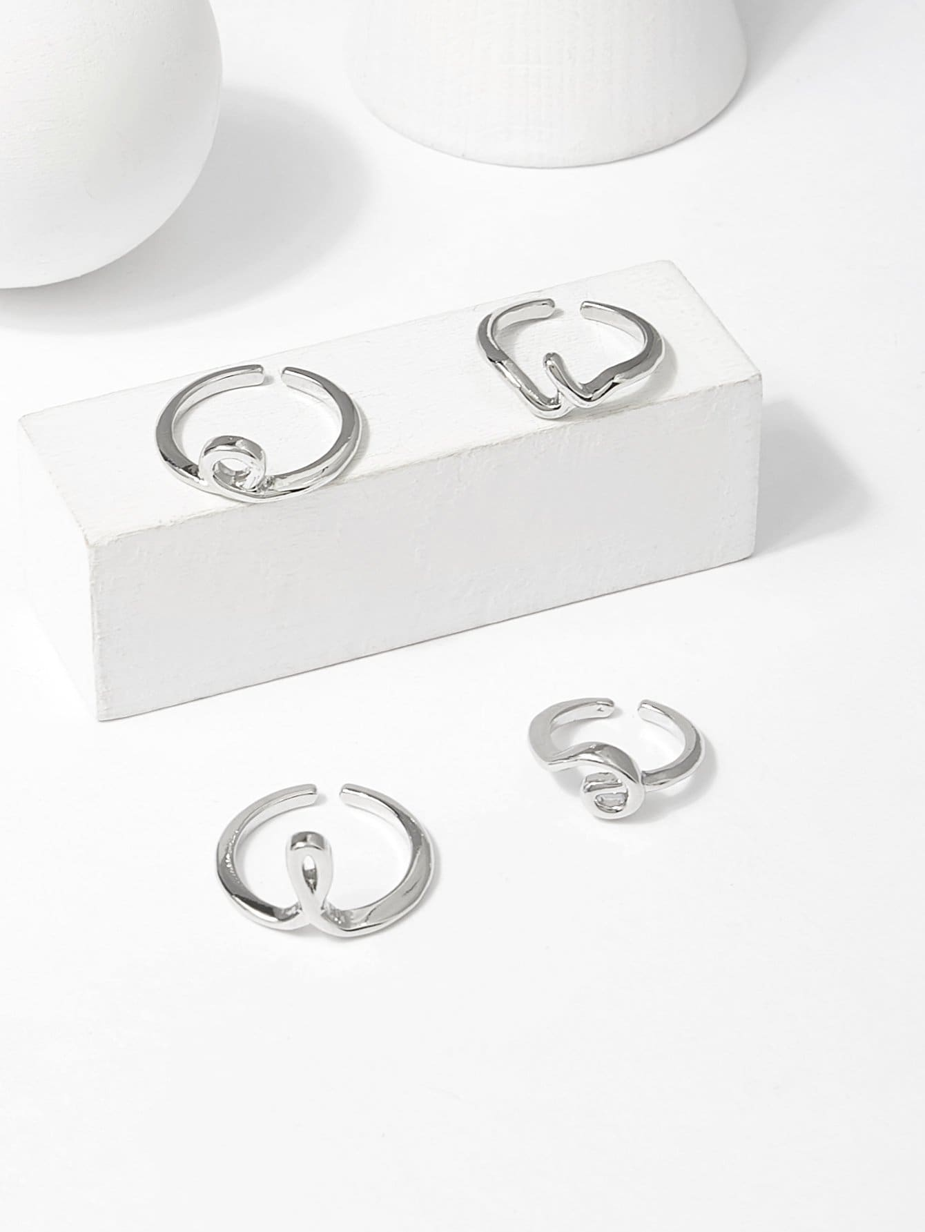 Irregular Shaped Cuff Ring Set 4pcs