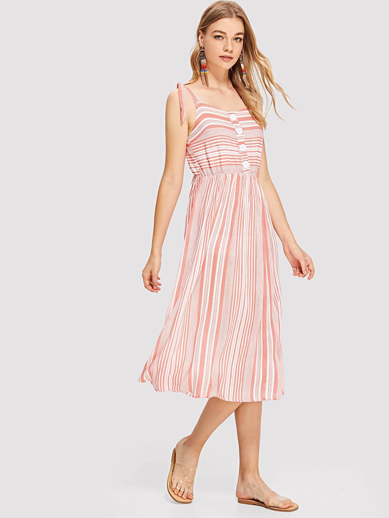 Купить Детальное полосатое платье с привязанным ремнем, Teresa, SheIn