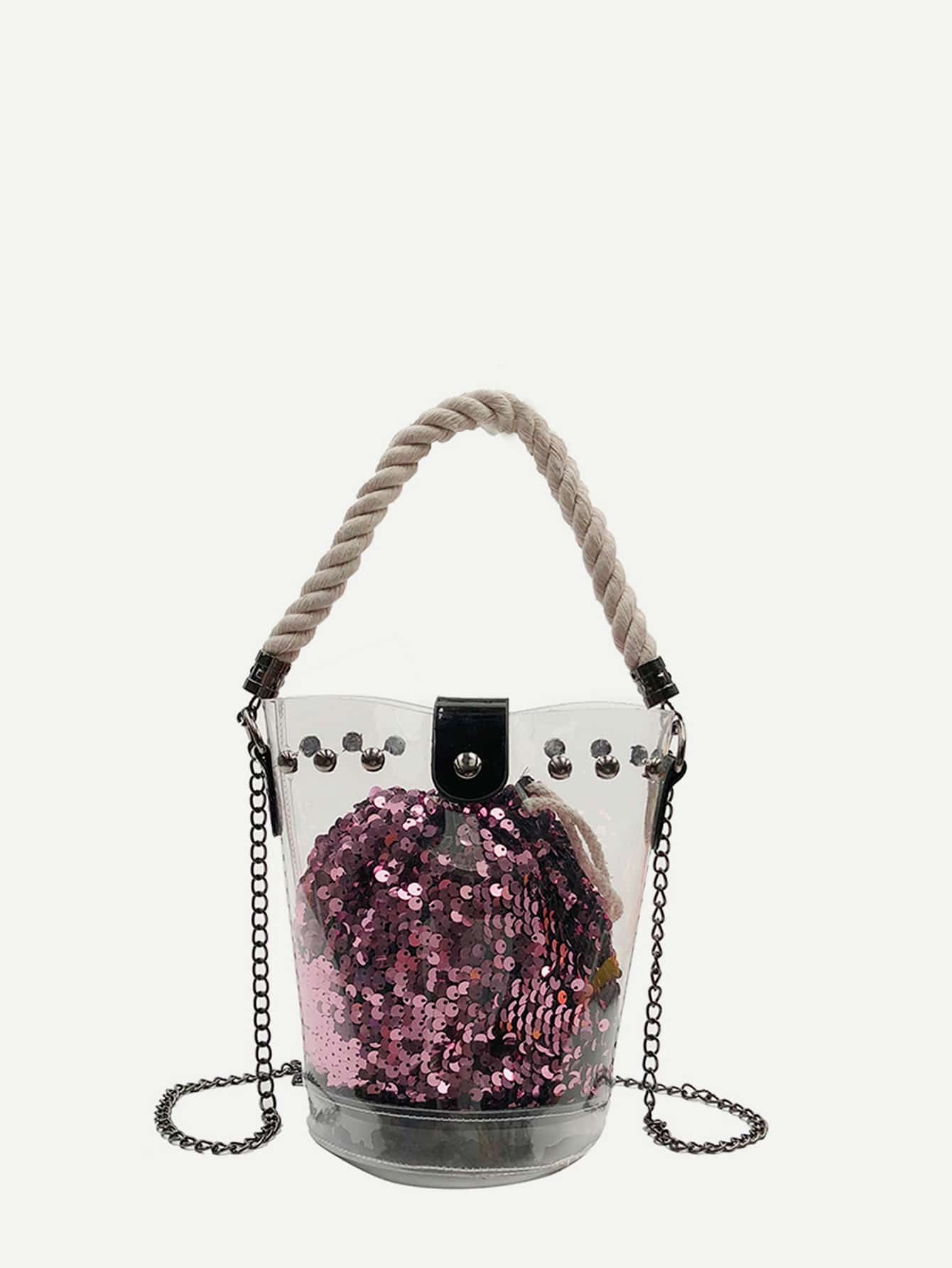 Clear Bucket Bag With Sequin Inner Pouch gibson clear bucket care kit