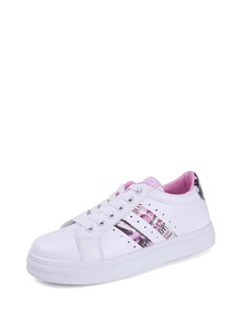 Graphic Panel Lace Up Sneakers