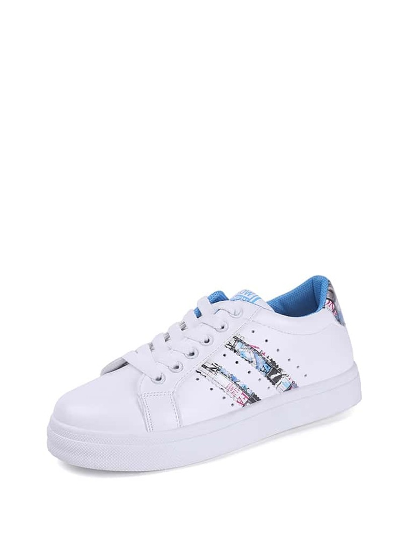 Graphic Panel Lace Up Sneakers, Multicolor