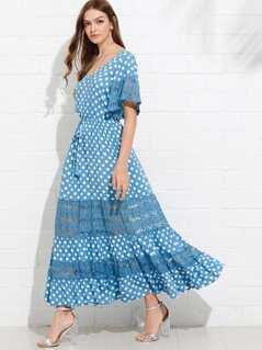 Floral Lace Insert Polka Dot Dress
