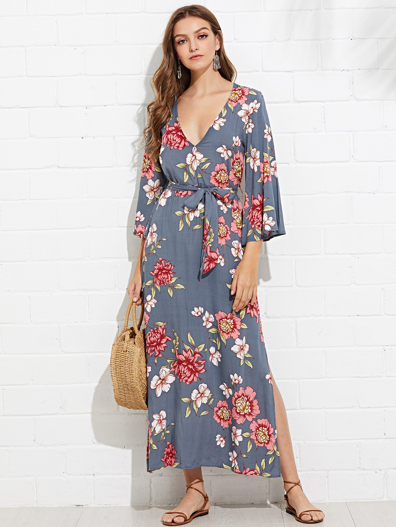 Bell Sleeve Floral Dress with Belt bohemian bell sleeve floral midi dress