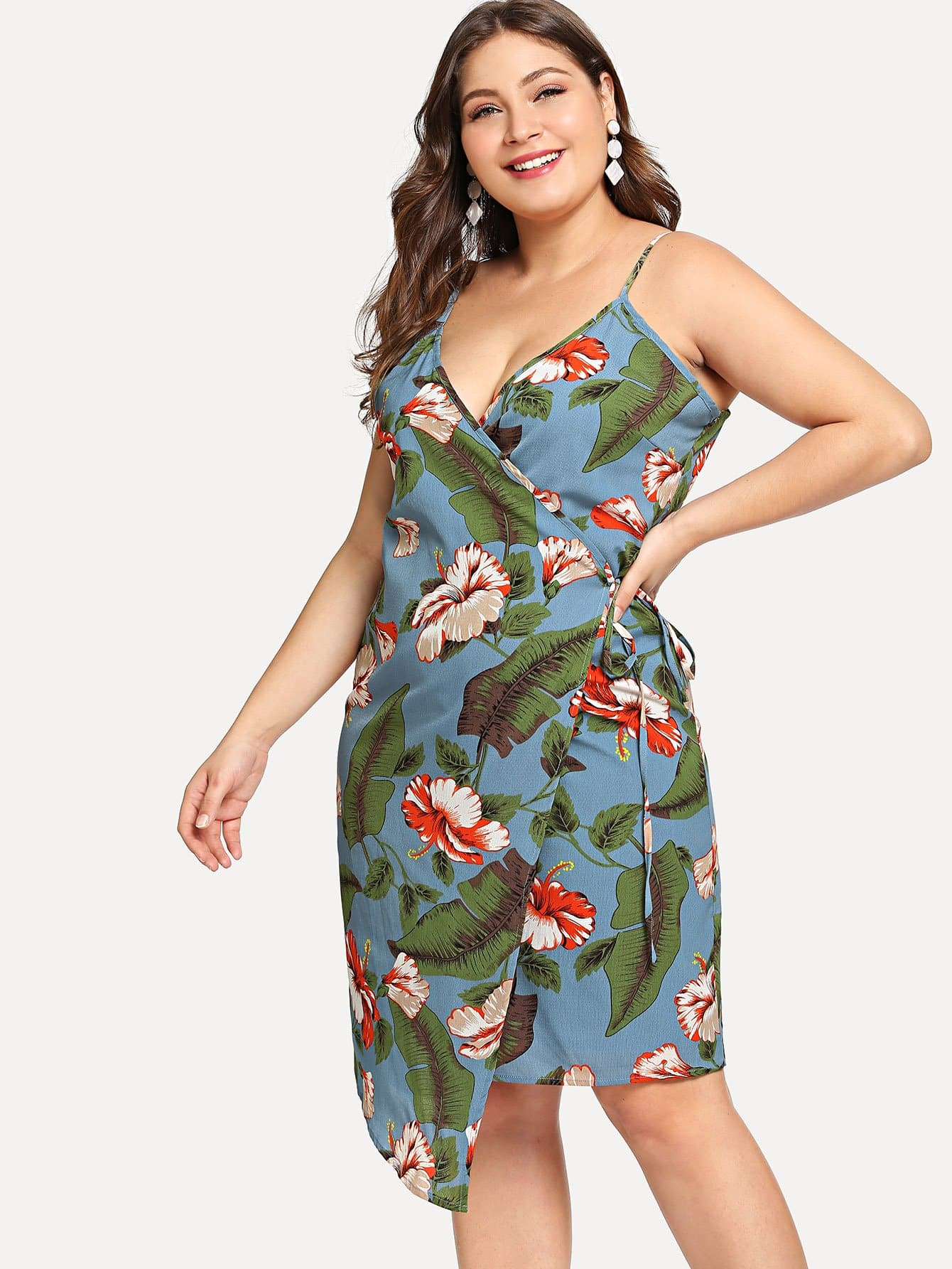 Купить Платье с запахом и принтом тропики, Carol, SheIn