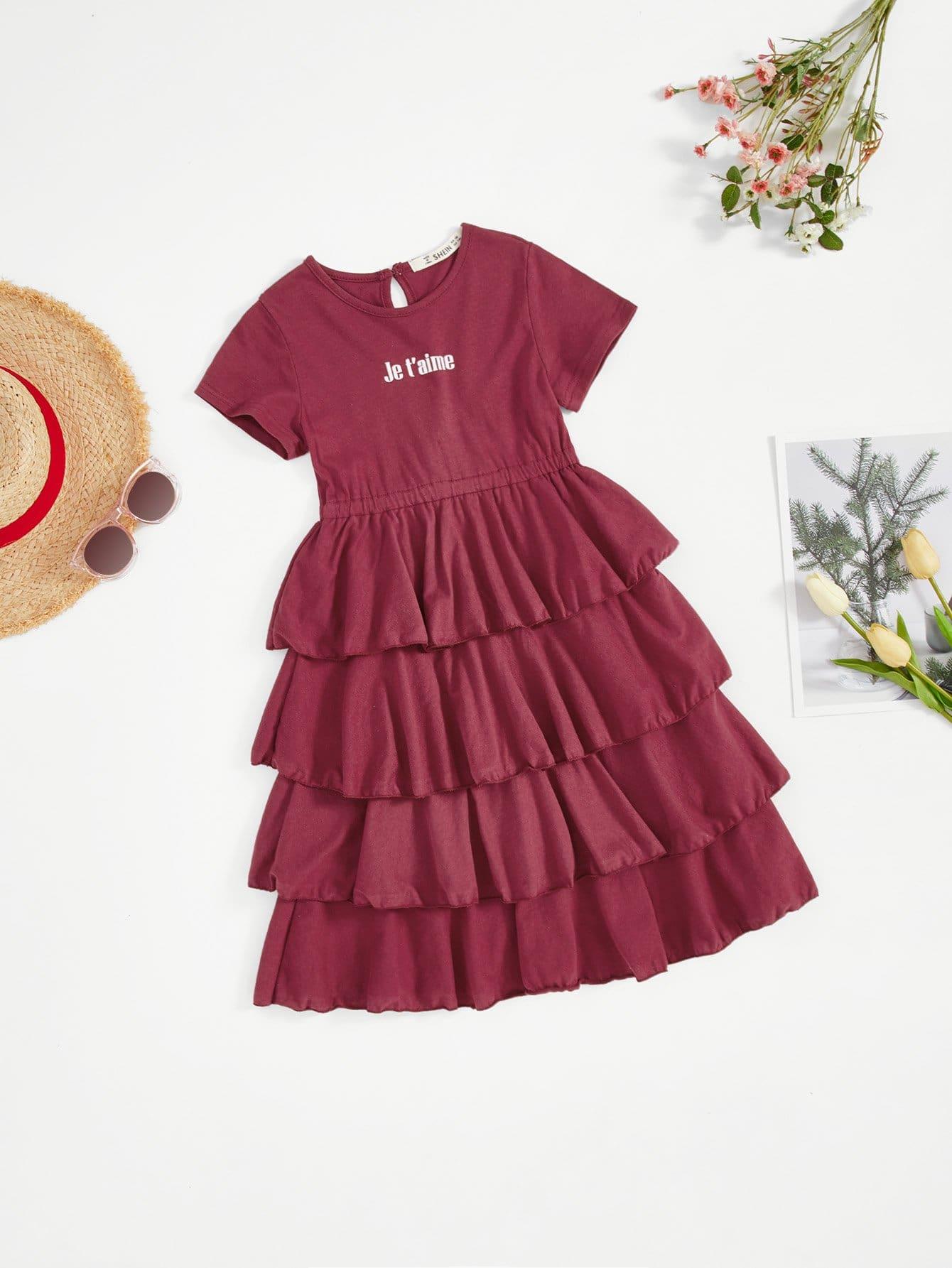 все цены на Girls Letter Print Tiered Ruffle Hem Dress