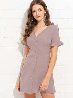Ruffle Cuff Button Up Dress
