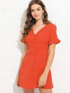 Flounce Sleeve Button Through Dress
