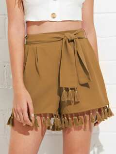 Tassel Hem Shorts with Belt