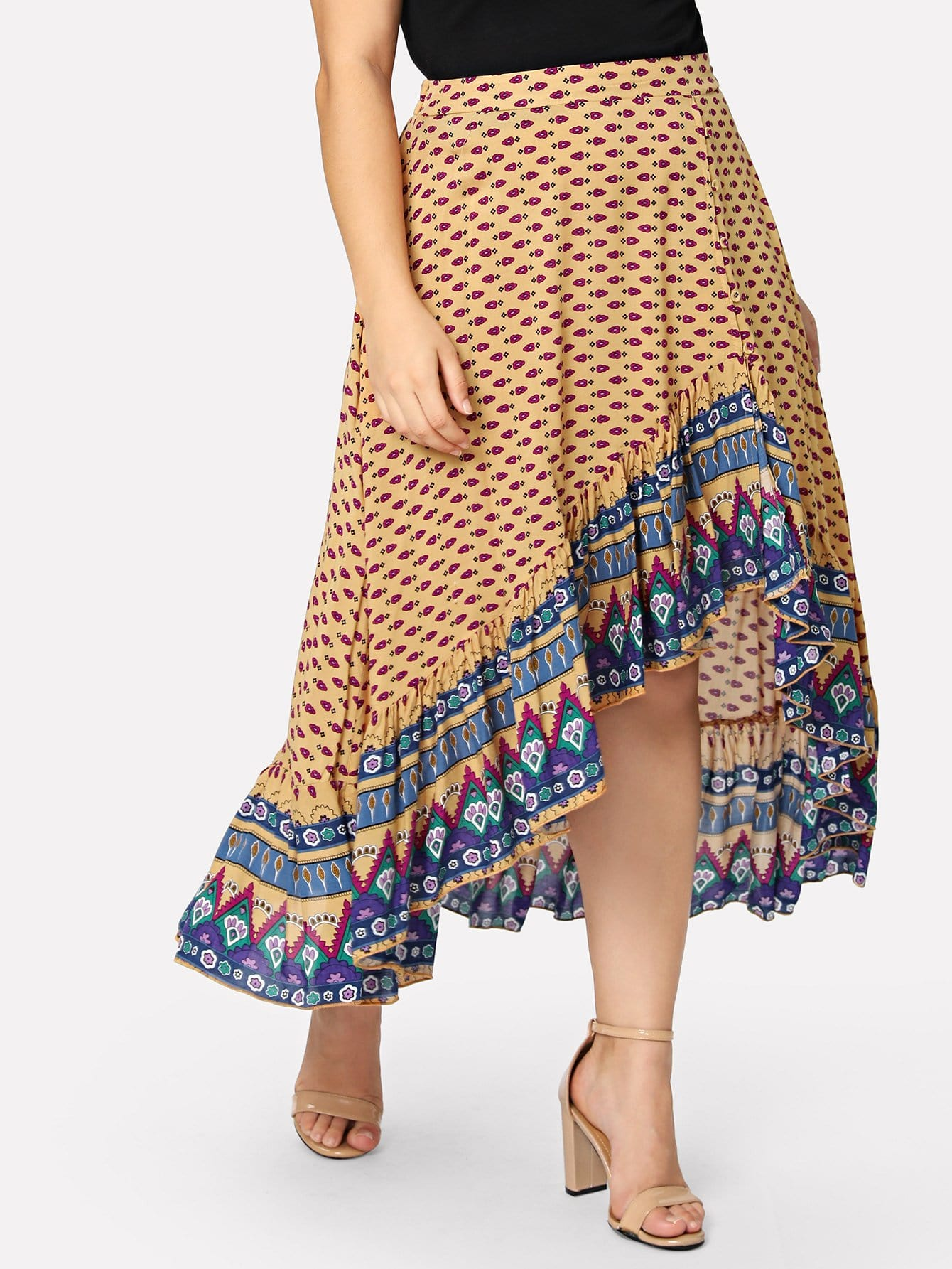 Купить Ассиметричная юбка с принтом племя, Carol, SheIn