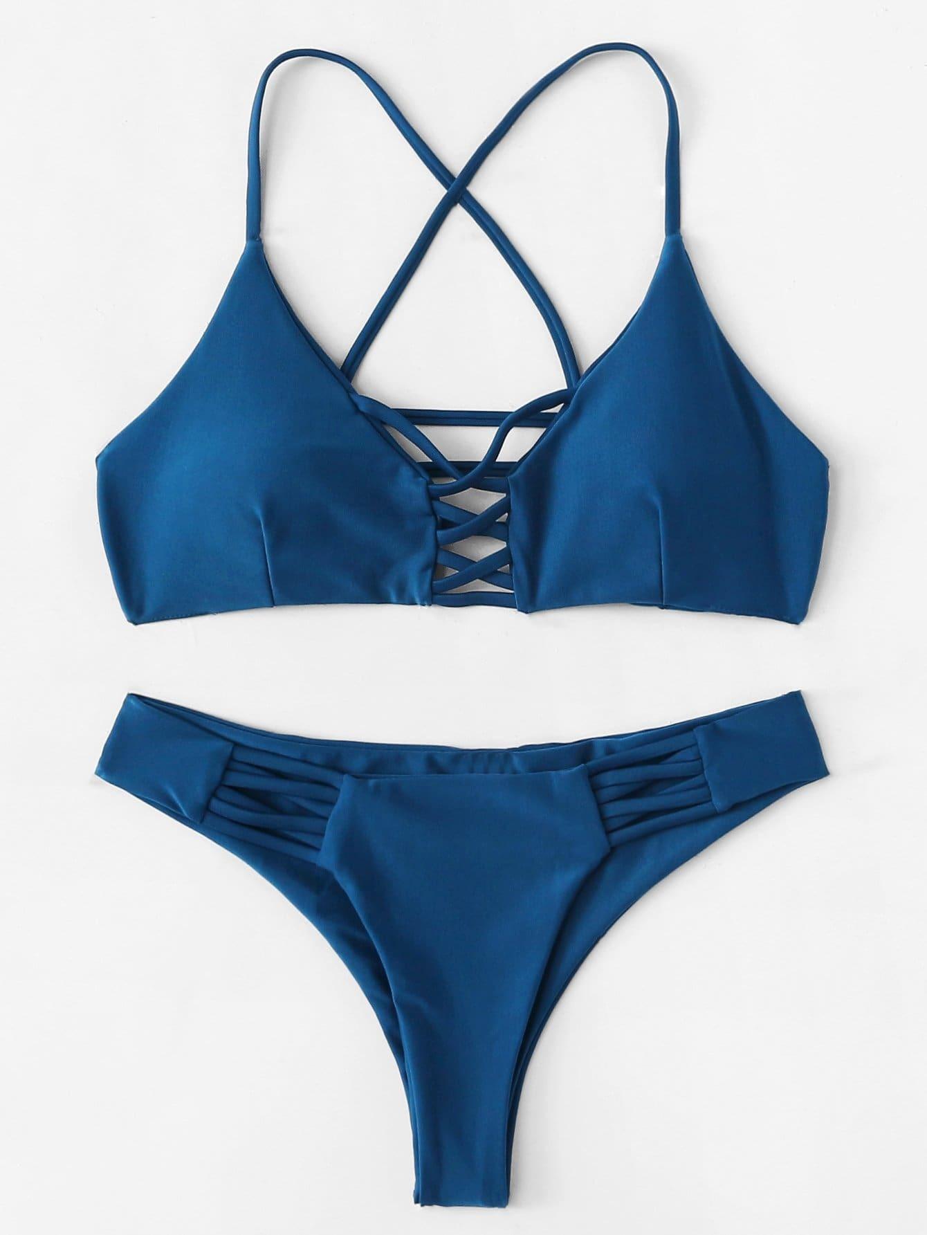 Criss Cross Caged Back Bikini Set criss cross bikini set