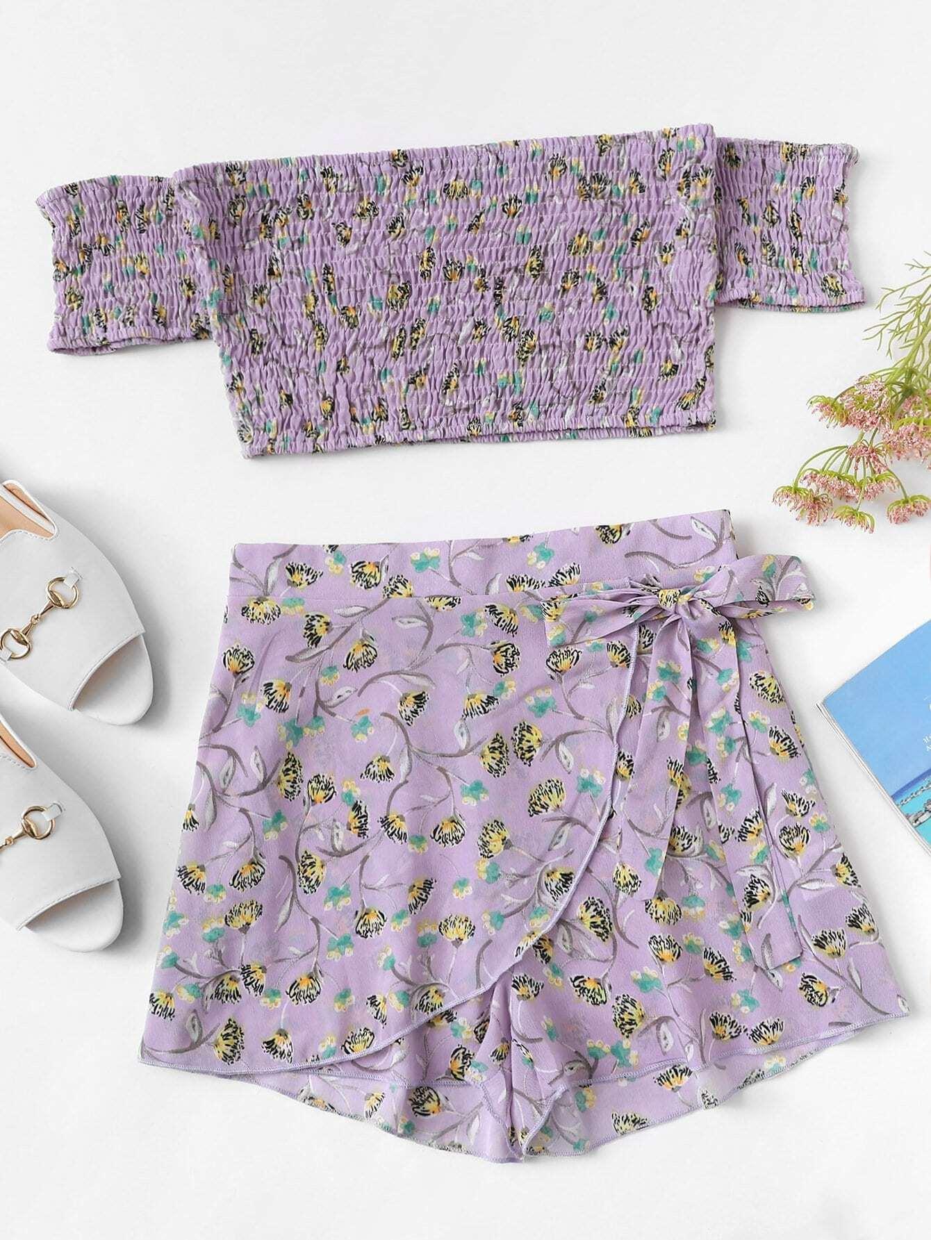 Купить С плечом Цветочные Shirred Top & Юбка Шорты Set, null, SheIn