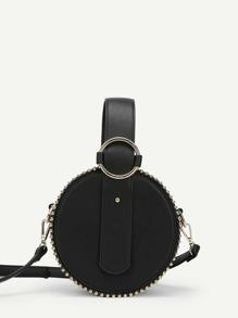 Beads Detail PU Round Bag