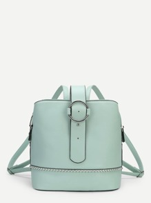 Ring Front PU Backpack With Beads