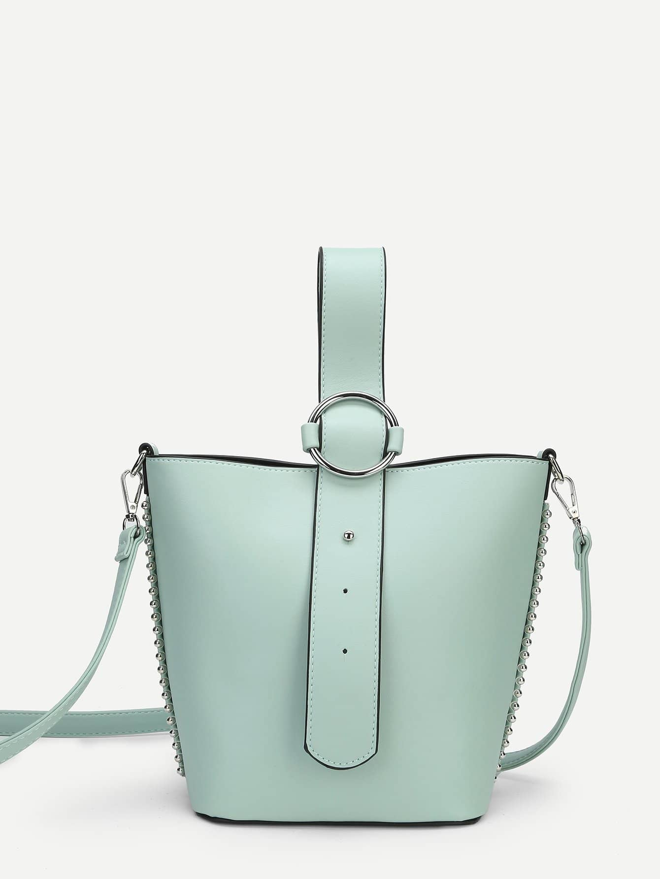 PU Shoulder Bag With Convertible Strap studded decorated pu bag with convertible strap