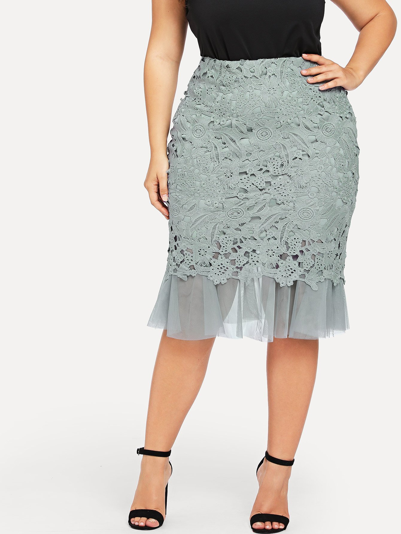 Plus Guipure Lace Overlay Mesh Skirt white sleeveless mesh and lace overlay details playsuit
