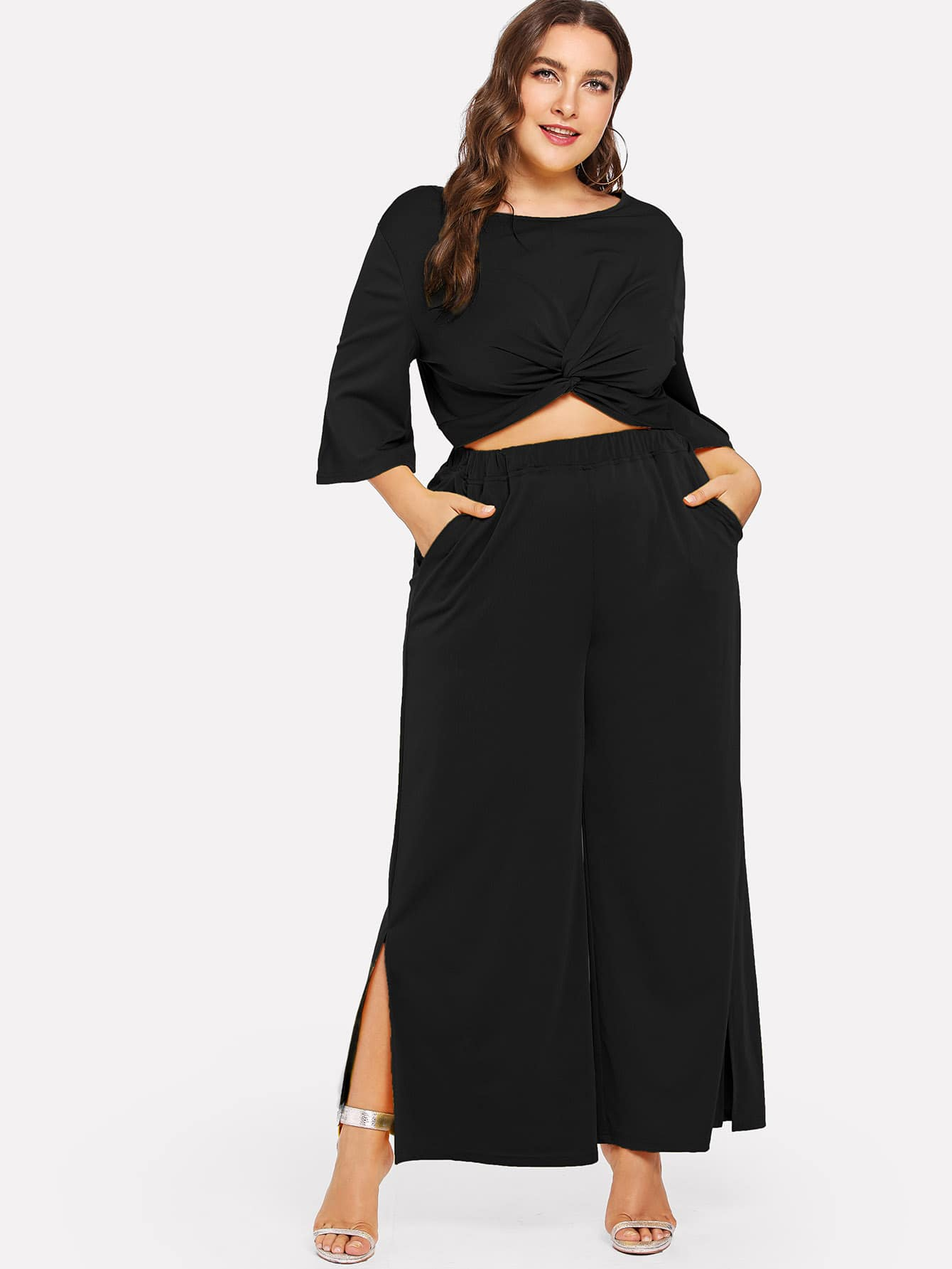 Half Sleeve Twist Solid Top & Pants Co-Ord