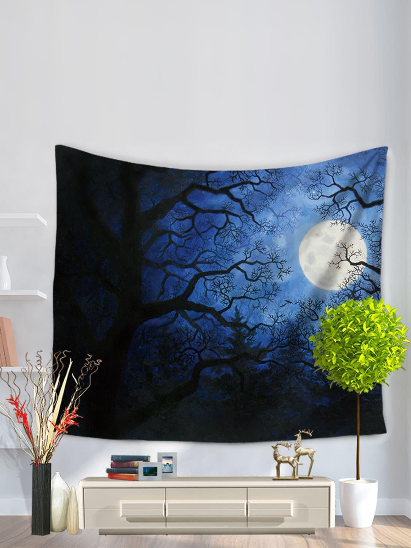 Купить Настенныйковерс рисунком сучьяев и луны, null, SheIn