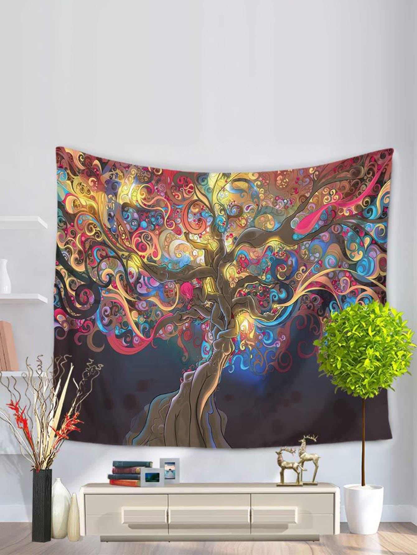 Купить Настенныйковерс рисунком абстрактного дерева, null, SheIn