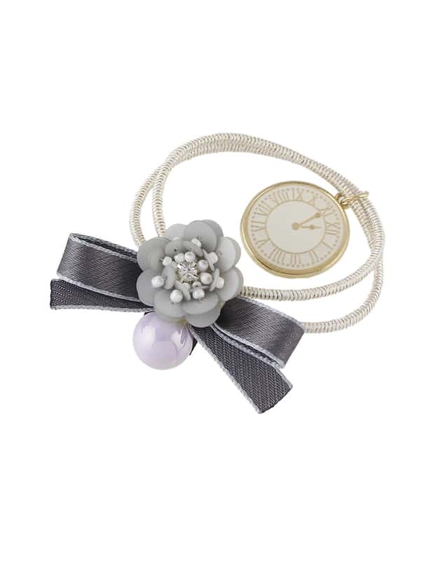 Gray Multicolor Flower Bow Hair Accessories